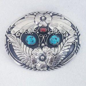 Vintage S.S.I. 88 Turquoise/Coral Belt Buckle -EUC